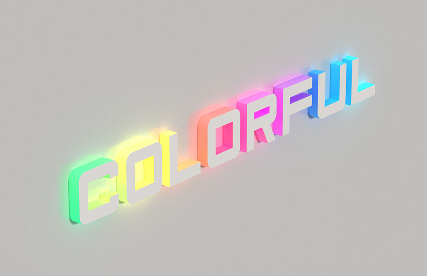 3D Colorful Illuminated Text Effect