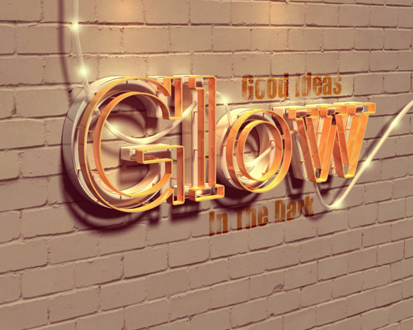 Glowing 3D Text Effect